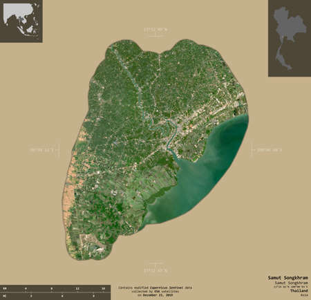 Samut Songkhram, province of Thailand. Sentinel-2 satellite imagery. Shape isolated on solid background with informative overlays. Contains modified Copernicus Sentinel data