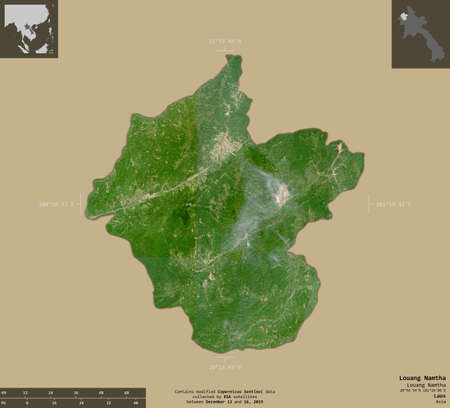 Louang Namtha, province of Laos. Sentinel-2 satellite imagery. Shape isolated on solid background with informative overlays. Contains modified Copernicus Sentinel data