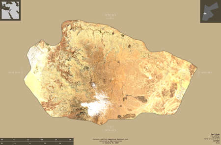 Tafilah, province of Jordan. Sentinel-2 satellite imagery. Shape isolated on solid background with informative overlays. Contains modified Copernicus Sentinel data