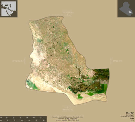 Dhi-Qar, province of Iraq. Sentinel-2 satellite imagery. Shape isolated on solid background with informative overlays. Contains modified Copernicus Sentinel data 版權商用圖片