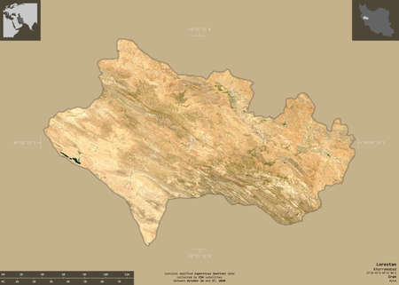 Lorestan, province of Iran. Sentinel-2 satellite imagery. Shape isolated on solid background with informative overlays. Contains modified Copernicus Sentinel data