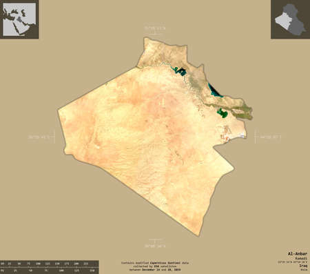 Al-Anbar, province of Iraq. Sentinel-2 satellite imagery. Shape isolated on solid background with informative overlays. Contains modified Copernicus Sentinel data