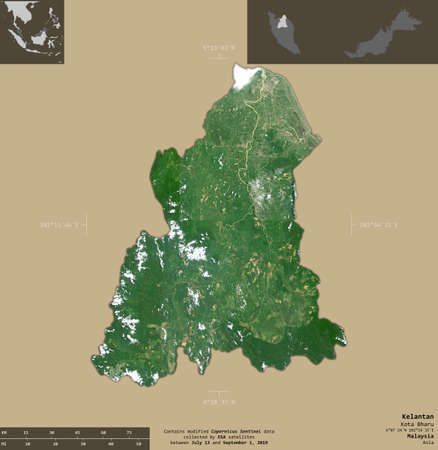 Kelantan, state of Malaysia. Sentinel-2 satellite imagery. Shape isolated on solid background with informative overlays. Contains modified Copernicus Sentinel data