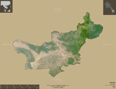 Saravan, province of Laos. Sentinel-2 satellite imagery. Shape isolated on solid background with informative overlays. Contains modified Copernicus Sentinel data