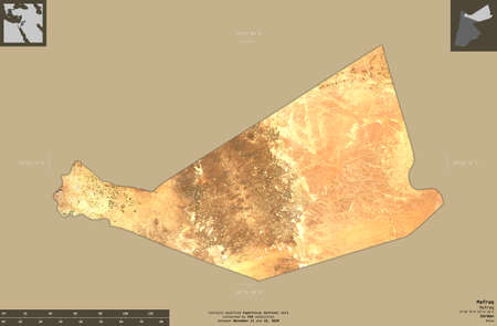 Mafraq, province of Jordan. Sentinel-2 satellite imagery. Shape isolated on solid background with informative overlays. Contains modified Copernicus Sentinel data