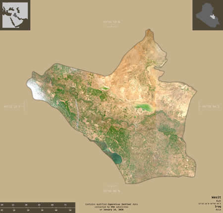 Wasit, province of Iraq. Sentinel-2 satellite imagery. Shape isolated on solid background with informative overlays. Contains modified Copernicus Sentinel data 版權商用圖片