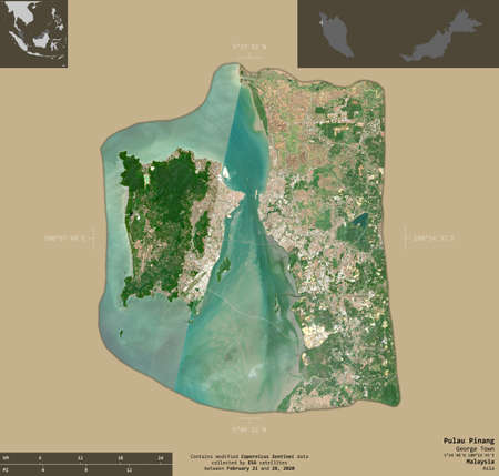Pulau Pinang, state of Malaysia. Sentinel-2 satellite imagery. Shape isolated on solid background with informative overlays. Contains modified Copernicus Sentinel data