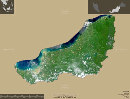 Sarawak, state of Malaysia. Sentinel-2 satellite imagery. Shape isolated on solid background with informative overlays. Contains modified Copernicus Sentinel data