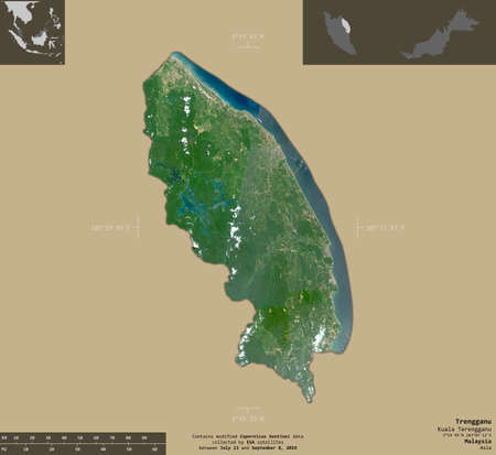 Trengganu, state of Malaysia. Sentinel-2 satellite imagery. Shape isolated on solid background with informative overlays. Contains modified Copernicus Sentinel data