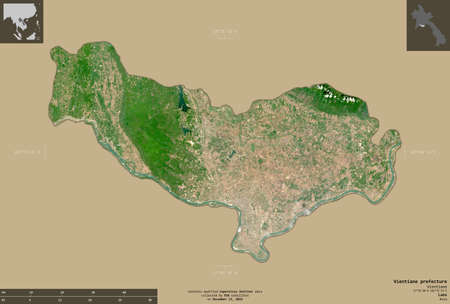 Vientiane prefecture, municipality|prefecture of Laos. Sentinel-2 satellite imagery. Shape isolated on solid background with informative overlays. Contains modified Copernicus Sentinel data
