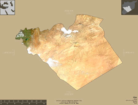 Hims, province of Syria. Sentinel-2 satellite imagery. Shape isolated on solid background with informative overlays. Contains modified Copernicus Sentinel data