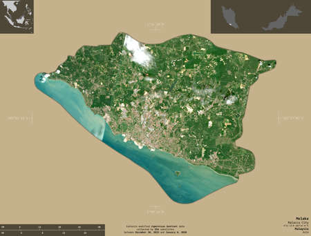 Melaka, state of Malaysia. Sentinel-2 satellite imagery. Shape isolated on solid background with informative overlays. Contains modified Copernicus Sentinel data