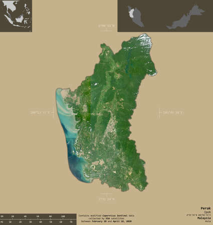 Perak, state of Malaysia. Sentinel-2 satellite imagery. Shape isolated on solid background with informative overlays. Contains modified Copernicus Sentinel data 版權商用圖片