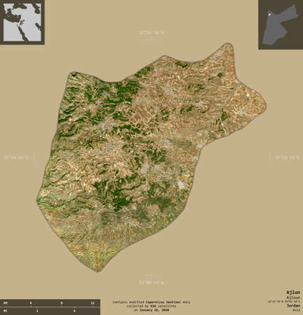 Ajlun, province of Jordan. Sentinel-2 satellite imagery. Shape isolated on solid background with informative overlays. Contains modified Copernicus Sentinel data