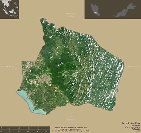 Negeri Sembilan, state of Malaysia. Sentinel-2 satellite imagery. Shape isolated on solid background with informative overlays. Contains modified Copernicus Sentinel data