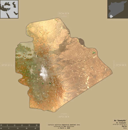 As Suwayda', province of Syria. Sentinel-2 satellite imagery. Shape isolated on solid background with informative overlays. Contains modified Copernicus Sentinel data