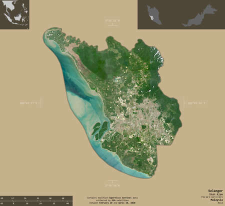 Selangor, state of Malaysia. Sentinel-2 satellite imagery. Shape isolated on solid background with informative overlays. Contains modified Copernicus Sentinel data