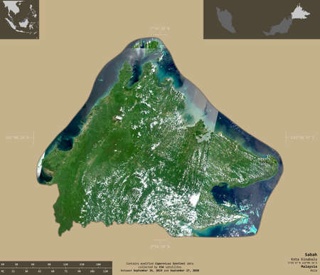 Sabah, state of Malaysia. Sentinel-2 satellite imagery. Shape isolated on solid background with informative overlays. Contains modified Copernicus Sentinel data