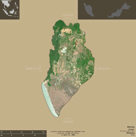 Perlis, state of Malaysia. Sentinel-2 satellite imagery. Shape isolated on solid background with informative overlays. Contains modified Copernicus Sentinel data