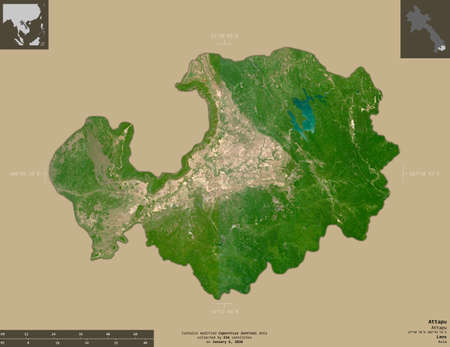 Attapu, province of Laos. Sentinel-2 satellite imagery. Shape isolated on solid background with informative overlays. Contains modified Copernicus Sentinel data