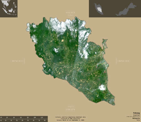 Pahang, state of Malaysia. Sentinel-2 satellite imagery. Shape isolated on solid background with informative overlays. Contains modified Copernicus Sentinel data