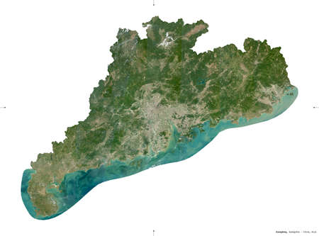 Guangdong, province of China. Sentinel-2 satellite imagery. Shape isolated on white solid. Description, location of the capital. Contains modified Copernicus Sentinel data Stock Photo