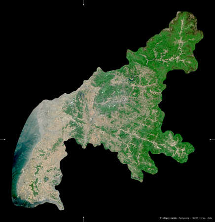 P'yongan-namdo, province of North Korea. Sentinel-2 satellite imagery. Shape isolated on black. Description, location of the capital. Contains modified Copernicus Sentinel data