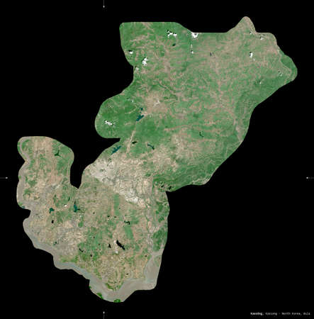 Kaesong, special administrative region of North Korea. Sentinel-2 satellite imagery. Shape isolated on black. Description, location of the capital. Contains modified Copernicus Sentinel data