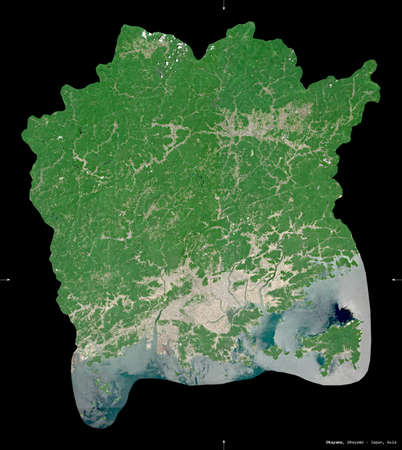 Okayama, prefecture of Japan. Sentinel-2 satellite imagery. Shape isolated on black. Description, location of the capital. Contains modified Copernicus Sentinel data Stock Photo