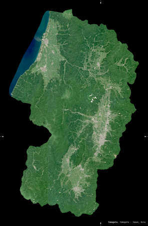 Yamagata, prefecture of Japan. Sentinel-2 satellite imagery. Shape isolated on black. Description, location of the capital. Contains modified Copernicus Sentinel data