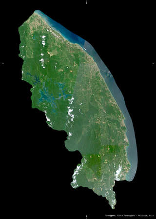 Trengganu, state of Malaysia. Sentinel-2 satellite imagery. Shape isolated on black. Description, location of the capital. Contains modified Copernicus Sentinel data