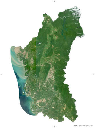 Perak, state of Malaysia. Sentinel-2 satellite imagery. Shape isolated on white solid. Description, location of the capital. Contains modified Copernicus Sentinel data