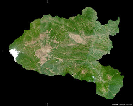 Xiangkhoang, province of Laos. Sentinel-2 satellite imagery. Shape isolated on black. Description, location of the capital. Contains modified Copernicus Sentinel data