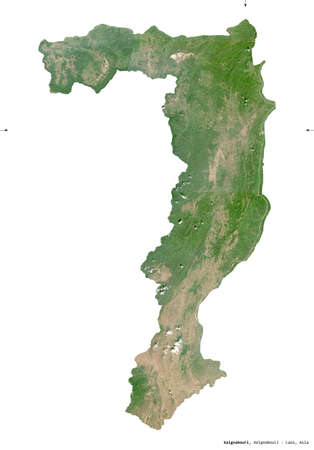 Xaignabouri, province of Laos. Sentinel-2 satellite imagery. Shape isolated on white solid. Description, location of the capital. Contains modified Copernicus Sentinel data