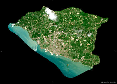 Melaka, state of Malaysia. Sentinel-2 satellite imagery. Shape isolated on black. Description, location of the capital. Contains modified Copernicus Sentinel data Stock Photo