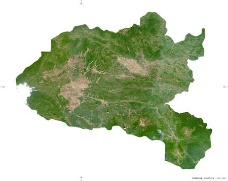 Xiangkhoang, province of Laos. Sentinel-2 satellite imagery. Shape isolated on white solid. Description, location of the capital. Contains modified Copernicus Sentinel data