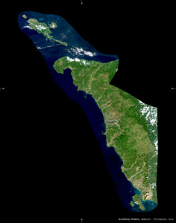 Occidental Mindoro, province of Philippines. Sentinel-2 satellite imagery. Shape isolated on black. Description, location of the capital. Contains modified Copernicus Sentinel data Stock Photo