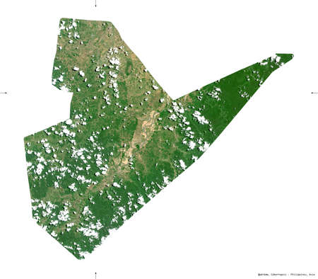 Quirino, province of Philippines. Sentinel-2 satellite imagery. Shape isolated on white solid. Description, location of the capital. Contains modified Copernicus Sentinel data Stock Photo
