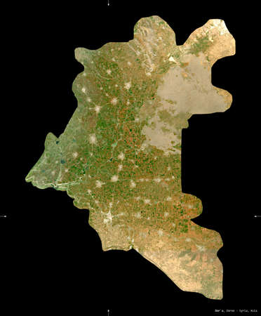 Dar`a, province of Syria. Sentinel-2 satellite imagery. Shape isolated on black. Description, location of the capital. Contains modified Copernicus Sentinel data