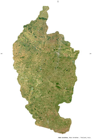 Maha Sarakham, province of Thailand. Sentinel-2 satellite imagery. Shape isolated on white. Description, location of the capital. Contains modified Copernicus Sentinel data Stock Photo