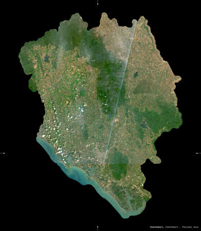 Chanthaburi, province of Thailand. Sentinel-2 satellite imagery. Shape isolated on black. Description, location of the capital. Contains modified Copernicus Sentinel data