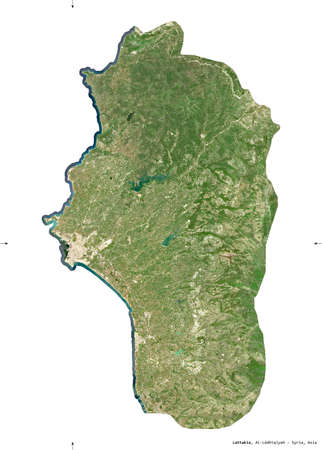 Lattakia, province of Syria. Sentinel-2 satellite imagery. Shape isolated on white solid. Description, location of the capital. Contains modified Copernicus Sentinel data