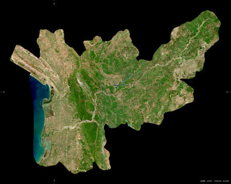 Lezhe, county of Albania. Sentinel-2 satellite imagery. Shape isolated on black. Description, location of the capital. Contains modified Copernicus Sentinel data