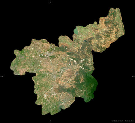 Saraburi, province of Thailand. Sentinel-2 satellite imagery. Shape isolated on black. Description, location of the capital. Contains modified Copernicus Sentinel data