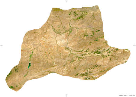 Bayburt, province of Turkey. Sentinel-2 satellite imagery. Shape isolated on white. Description, location of the capital. Contains modified Copernicus Sentinel data Stock Photo