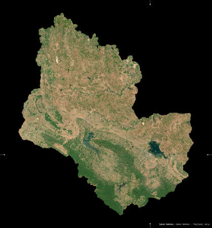 Sakon Nakhon, province of Thailand. Sentinel-2 satellite imagery. Shape isolated on black. Description, location of the capital. Contains modified Copernicus Sentinel data