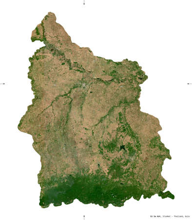 Si Sa Ket, province of Thailand. Sentinel-2 satellite imagery. Shape isolated on white. Description, location of the capital. Contains modified Copernicus Sentinel data