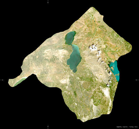 Isparta, province of Turkey. Sentinel-2 satellite imagery. Shape isolated on black. Description, location of the capital. Contains modified Copernicus Sentinel data