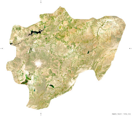 Kayseri, province of Turkey. Sentinel-2 satellite imagery. Shape isolated on white. Description, location of the capital. Contains modified Copernicus Sentinel data Stock Photo