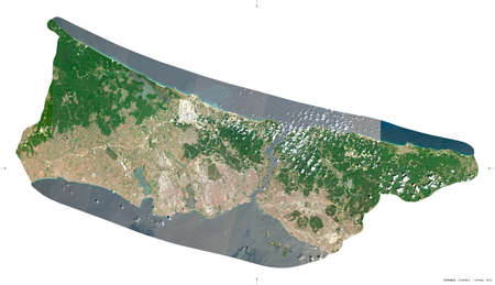Istanbul, province of Turkey. Sentinel-2 satellite imagery. Shape isolated on white. Description, location of the capital. Contains modified Copernicus Sentinel data